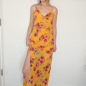 Rose Floral Slit V Neck Waist Cincher Summer Dress
